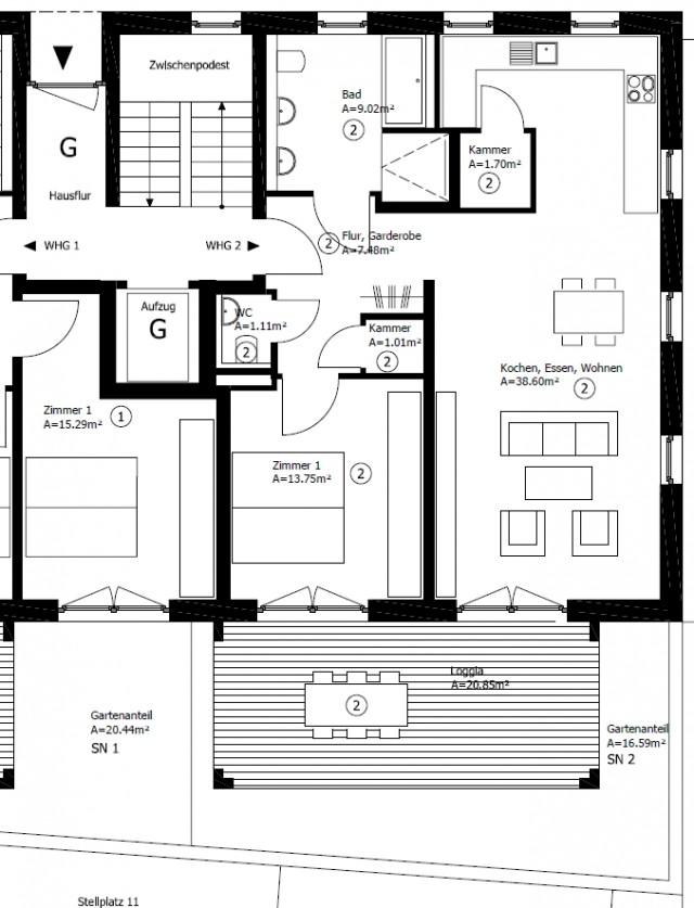 neubau gro z gige zwei zimmer wohnung jutta vollmer. Black Bedroom Furniture Sets. Home Design Ideas